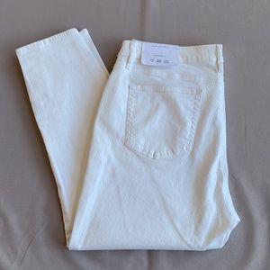 NWT~LOFT Curvy Skinny Jeans White Ankle 32/14